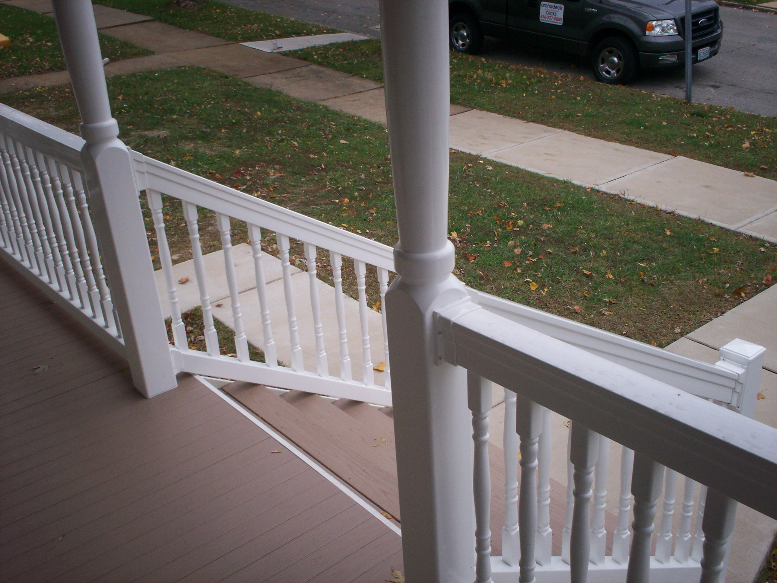azek front porch with stairs railings and columns in st