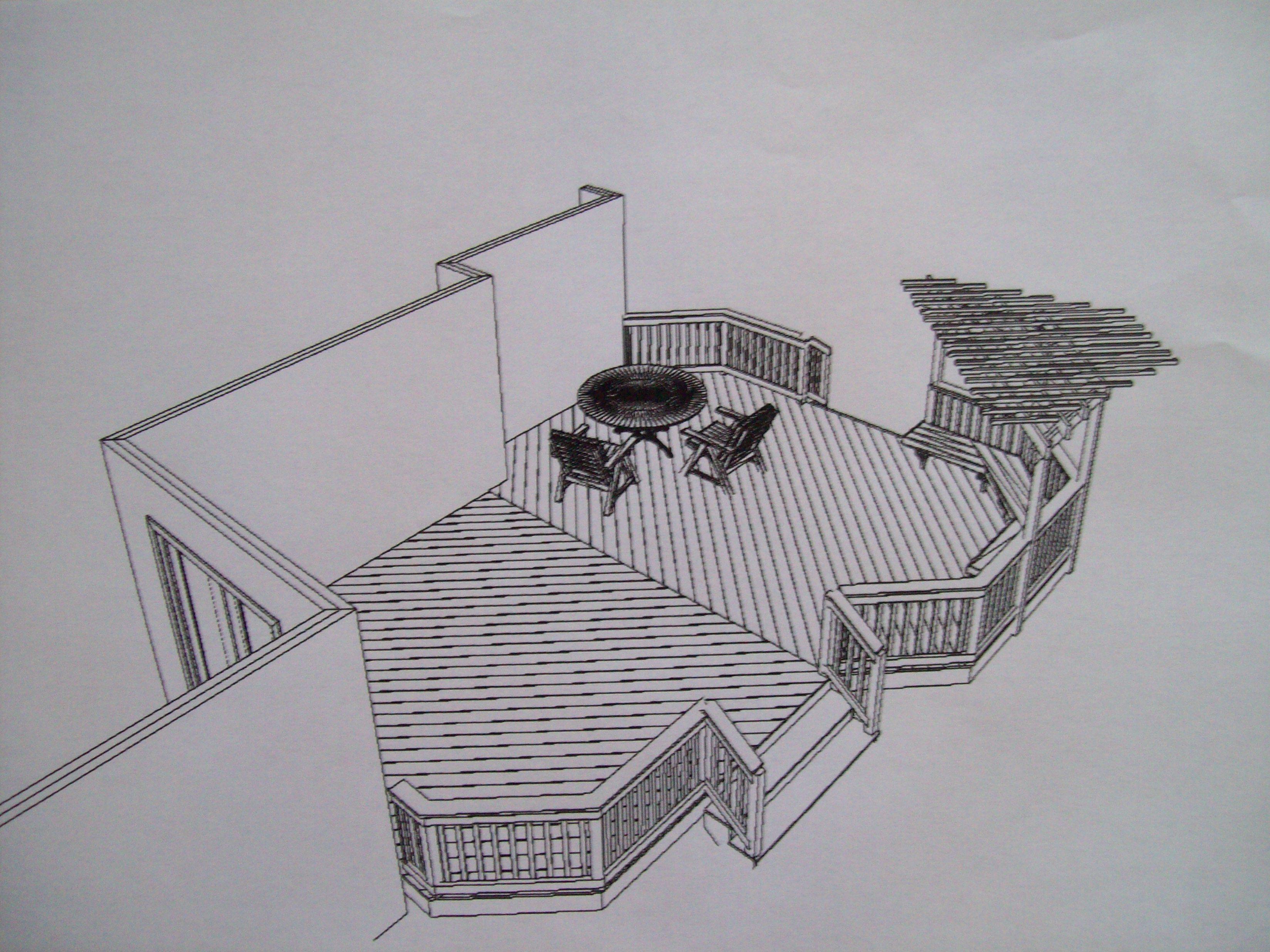 Diy pergola designs existing deck plans free for Wood deck plans pdf