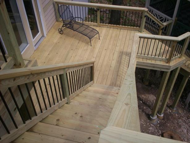 Build wooden deck railing bench plans diy pdf woodworking for Wood deck plans pdf