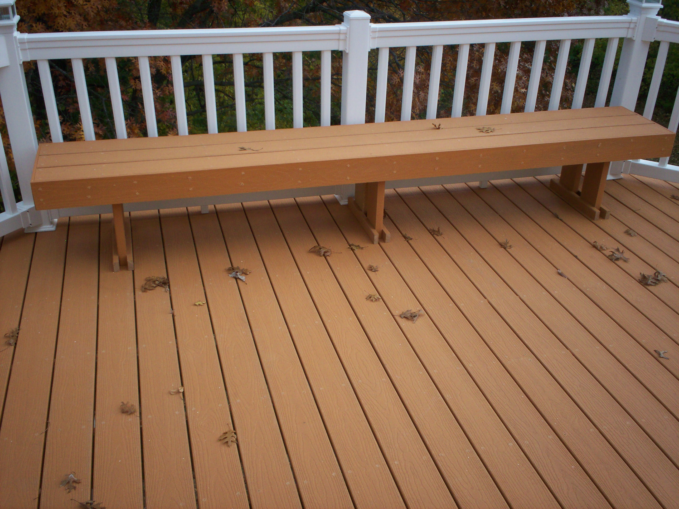 Composite decking vinyl railings with lighting and bench for Vinyl decking material