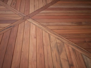 Tigerwood Hardwood Deck in St. Louis with Floor Board Design by Archadeck