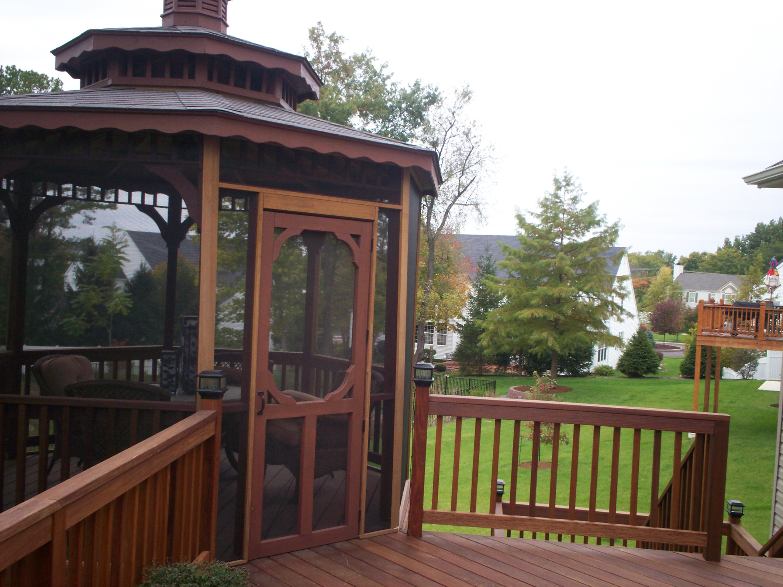hardwood gazebo and deck in st louis st louis decks screened