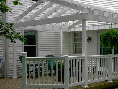 White Pergola With Wood Deck St Louis Decks Screened