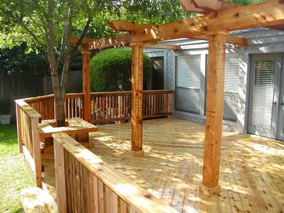 Wood Deck with Wood Pergola - Wood Deck With Wood Pergola St. Louis Decks, Screened Porches