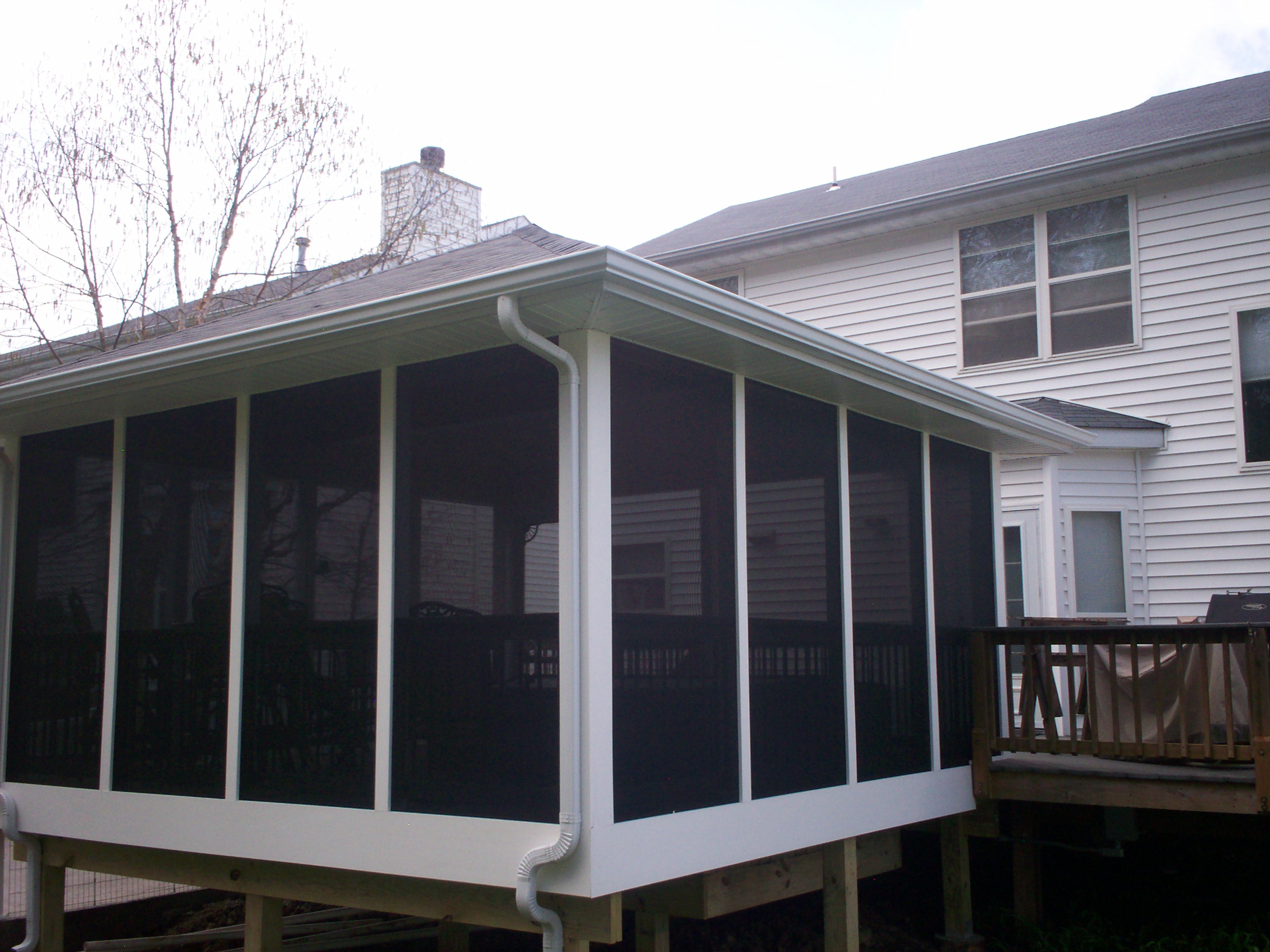 Vinyl screened porch with deck in st louis eureka area for Porch rooms