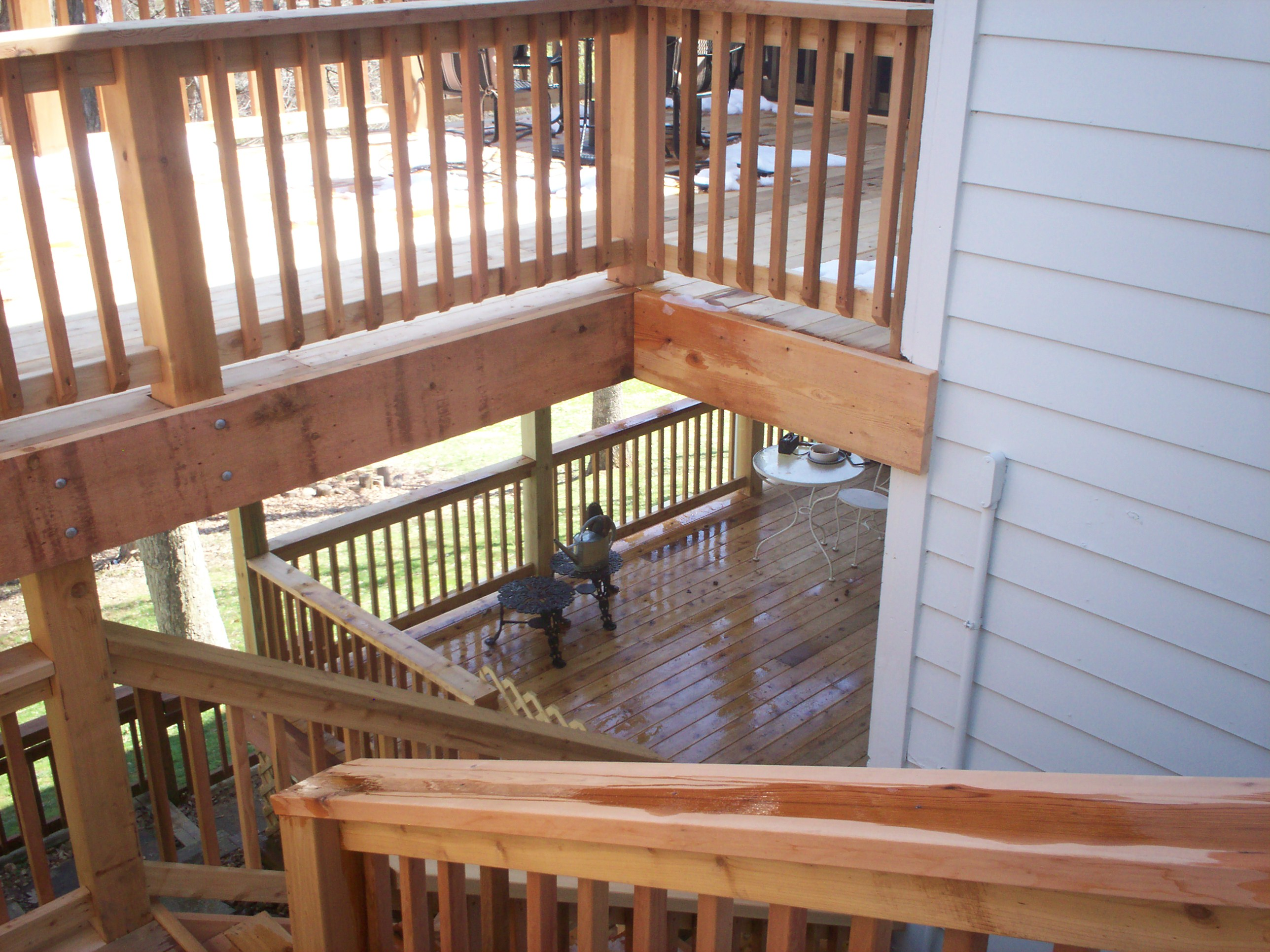 Cedar Deck Stairs In St. Louis County