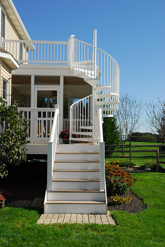 White Spiral Stairs For Deck And Screen Room, Photo By Salter Spiral Stair