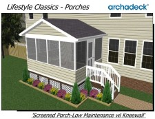 Screened Porches in St. Louis and St. Charles - Low Maintenance with Kneewall Rail - by Archadeck