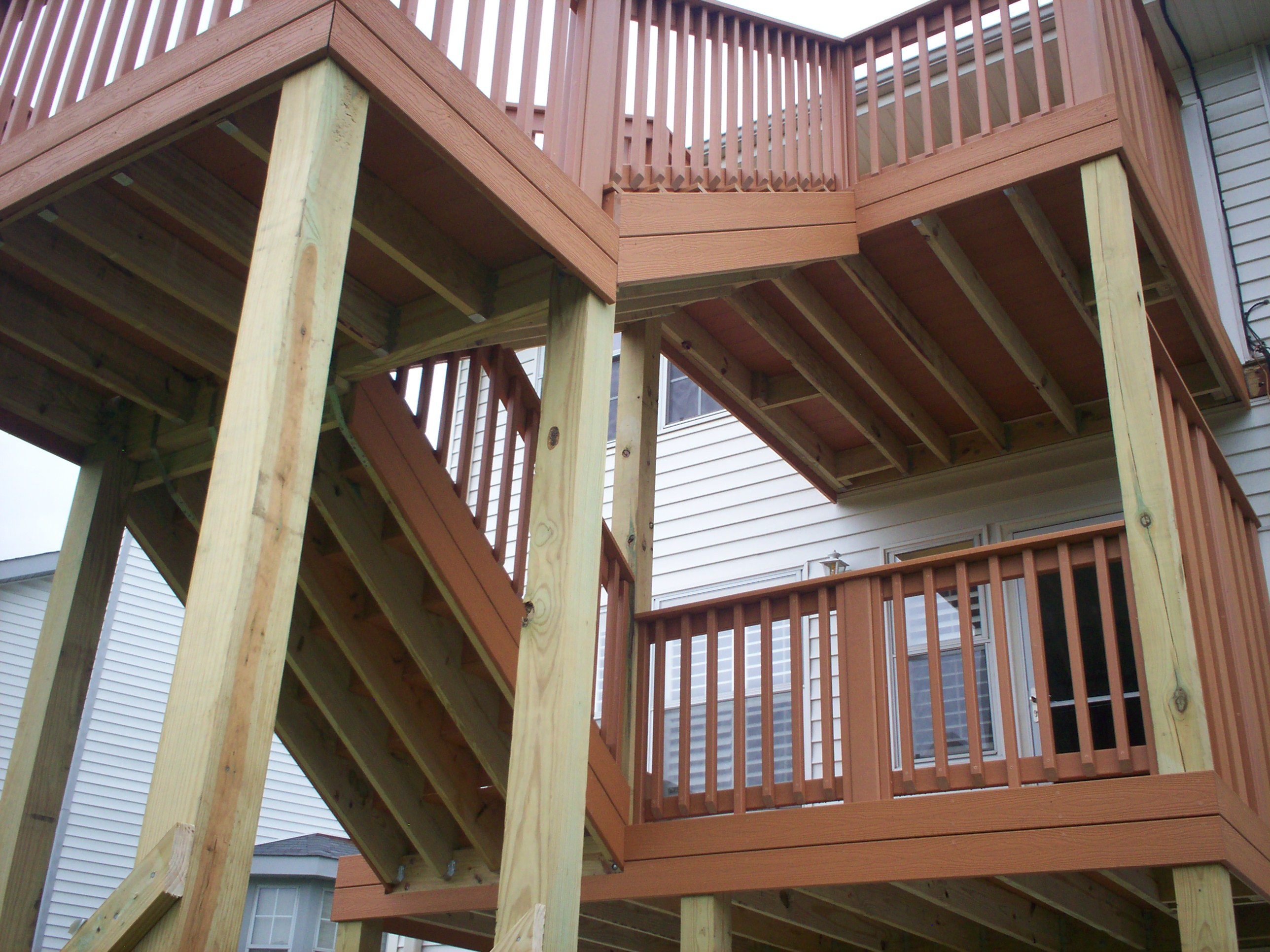 Deck stairs st louis decks screened porches pergolas for 2 story deck