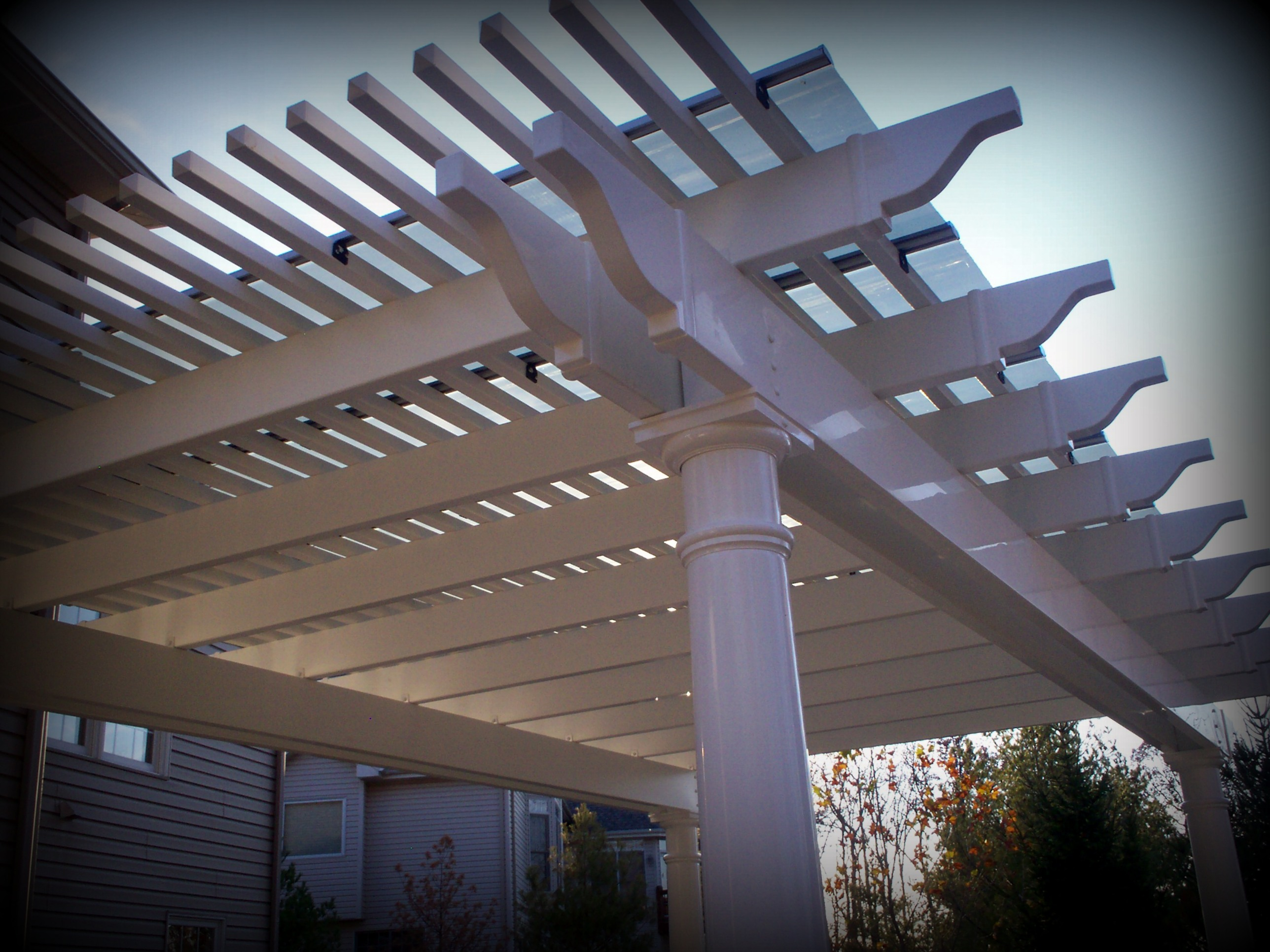 White Vinyl Shade Pergola for Patio Cover in St Louis Mo
