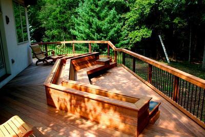 Build built in deck bench plans diy shoe rack door design for Built in garden bench designs