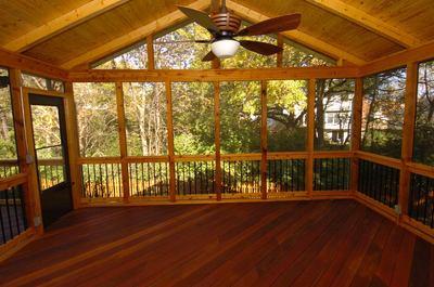 Screen Porch by Archadeck – Hardwood Floor, Lighting, Ceiling Fan ...