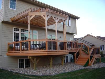Attached Pergola Shading Deck - Attached Pergola Shading Deck St. Louis Decks, Screened Porches