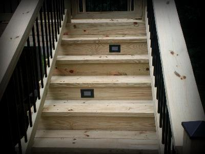 Attractive Pressure Treated Deck With Riser Lighting For Stairs St Louis