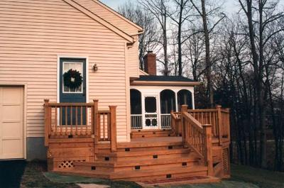 Wood Deck With Multiple Riser