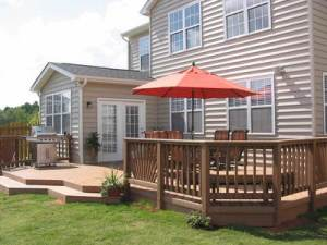 Backyard Deck with Flared Steps and Level Change, Archadeck