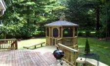 Deck with Gazebo and Partial Railing, Built in Benches