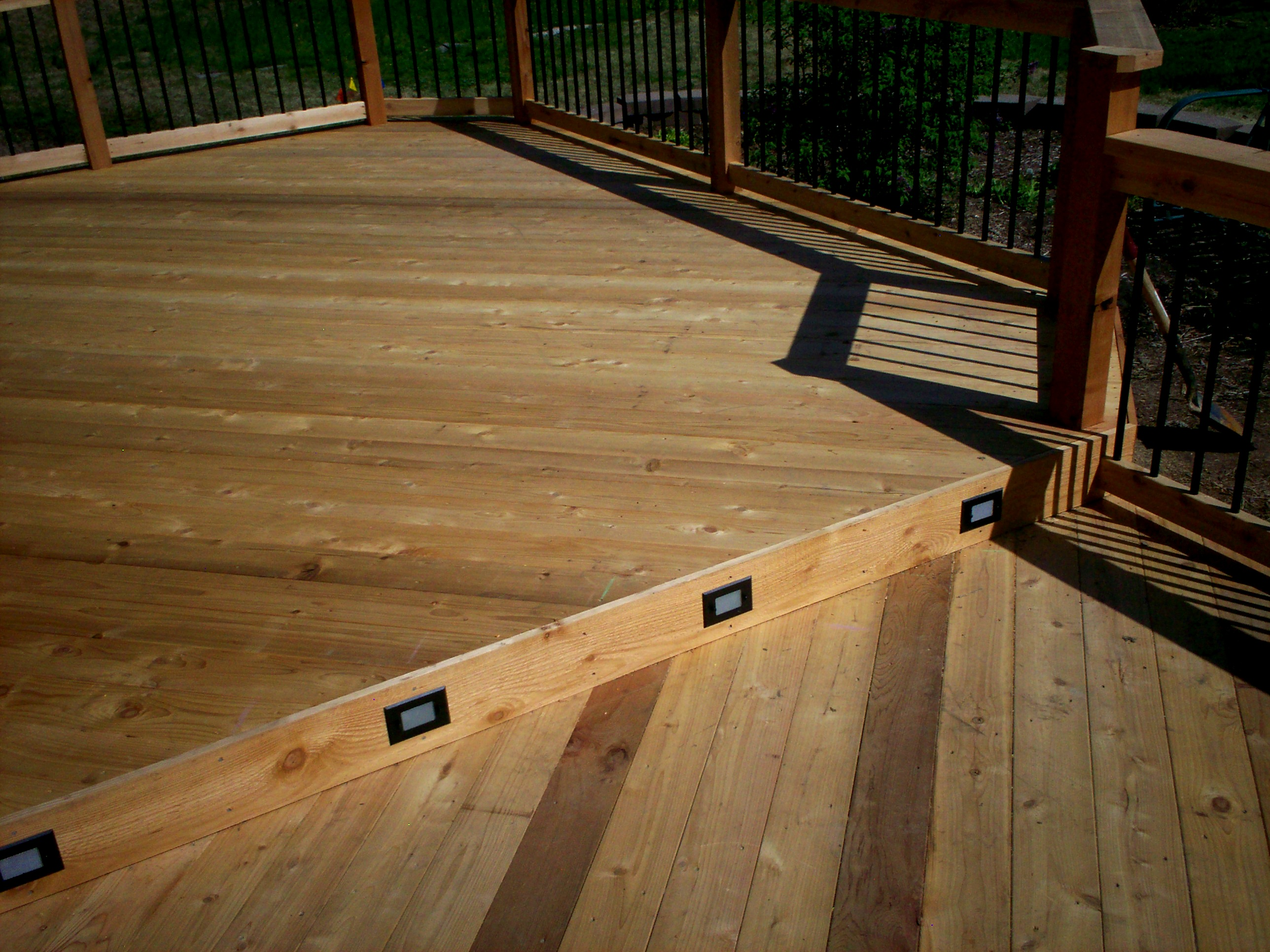 Deck rail lighting st louis decks screened porches pergolas by deck step riser lighting by archadeck st louis aloadofball Choice Image
