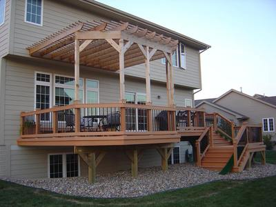 Pressure Treated Pergola for Composite Deck, Attached - Pressure Treated Pergola For Composite Deck, Attached St. Louis