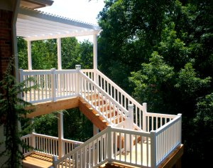 Wood Deck with Vinyl Rail by Archadeck, St. Louis Mo