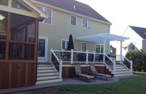 Two Toned Deck, White Pergola, Black Balusters and Screened Porch by Archadeck