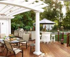Deck with Pergola and Outdoor Kitchen, by Archadeck
