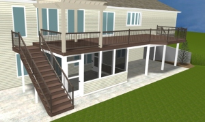 Elevated Deck with Under Deck Patio Enclosure, Renderings by Archadeck
