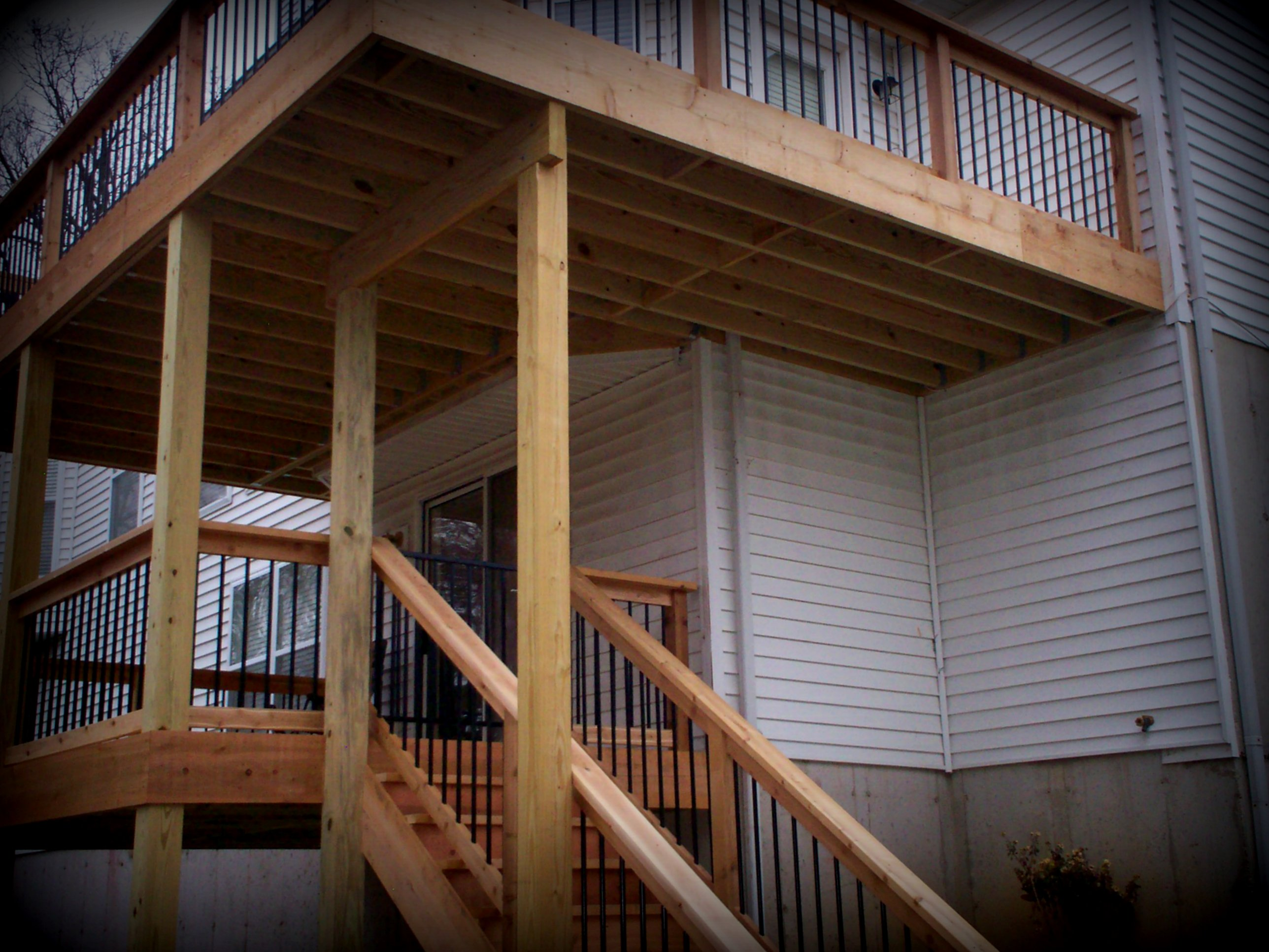 Two Story Deck With Upper Level Balcony By Archadeck In St Louis