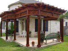 Ornate Pergola with Dark Stain by Archadeck