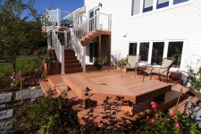 White Rails and Pickets with Glass Infill for Two Story Deck Project by Archadeck