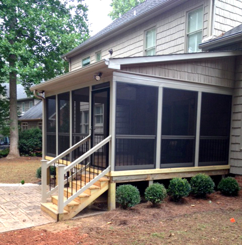 St louis mo screen porch roofing options by archadeck for Shed roof screened porch plans