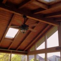 Screened Porch Ceiling with Exposed Beams and Skylights, project by Archadeck