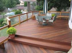 Hardwood Deck by Archadeck, Level Change, Diagonal Floor Boards and Tube Railing