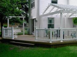 Natural Wood Deck with White Railing and Truss Pergola by Archadeck