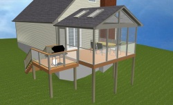 Deck and Porch with Glass Rails, Design Rendering by Archadeck