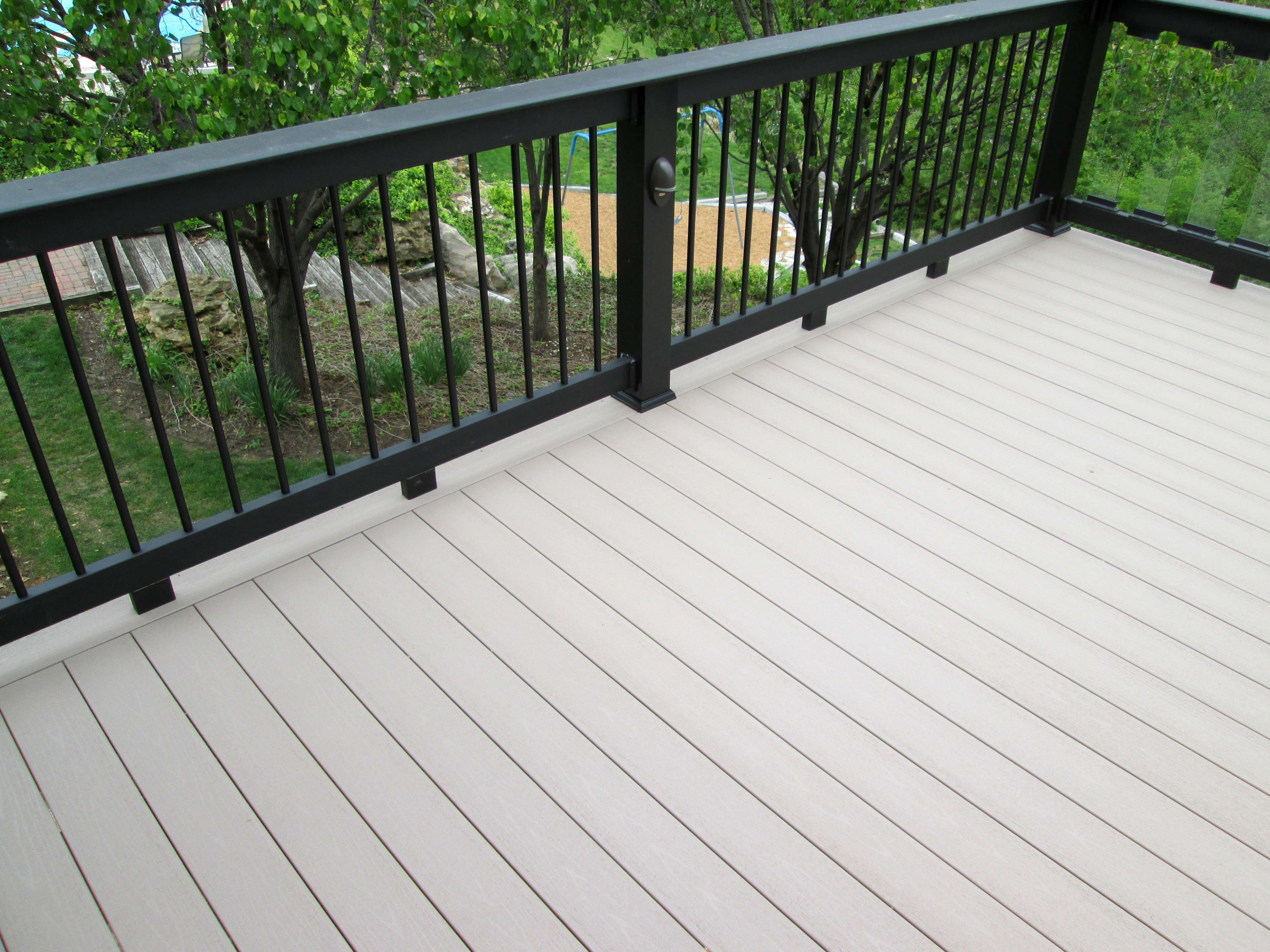 Glass railings for decks - Deck With Partial Glass Baluster Railing By Archadeck St Louis Mo