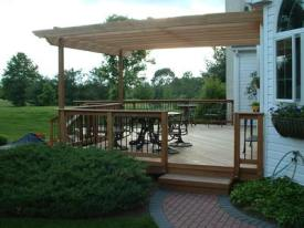 Smaller Deck with Partial Pergola Cover by Archadeck