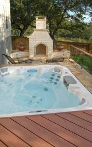 Hot Tub Deck by Archadeck with Outdoor Fire Feature