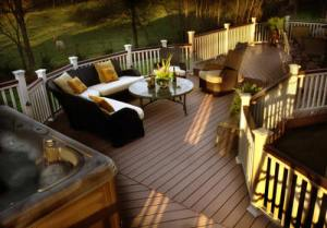 Outdoor Space with Hot Tub and Fall Decor. Archadeck