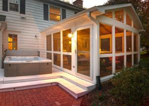 Screened Porch and Spa Deck with Lighting by Archadeck