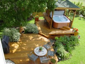 Trees, Shrubs, Plants, Screen and Roof Create Deck Privacy, Project by Archadeck