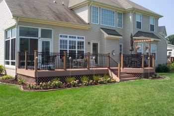 Low To The Ground, Single Plane Deck with Lattice and Landscaping, by Archadeck