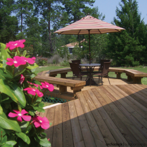 Wood Platform Deck with Lattice and Landscaping, Deck Project by Archadeck