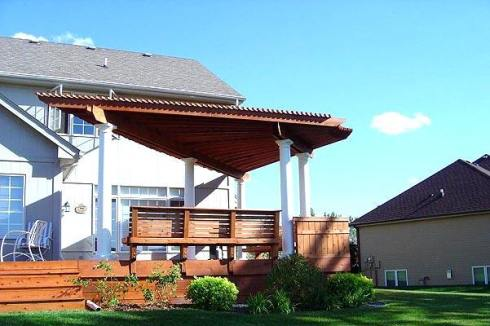 Fan Shaped Pergola with Round Columns by Archadeck