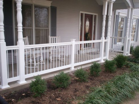Front Porch with Decorative Rails and Columns, by Archadeck in St. Louis Mo