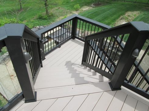 Deck Designed with Stair Rail Lights by Archadeck, St. Louis Mo