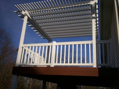Low Maintenance Deck, Railing and Pergola for Elevated Deck, St. Charles Mo, by Archadeck