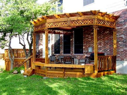 Ornate Pergola with Added Shade Features by Archadeck