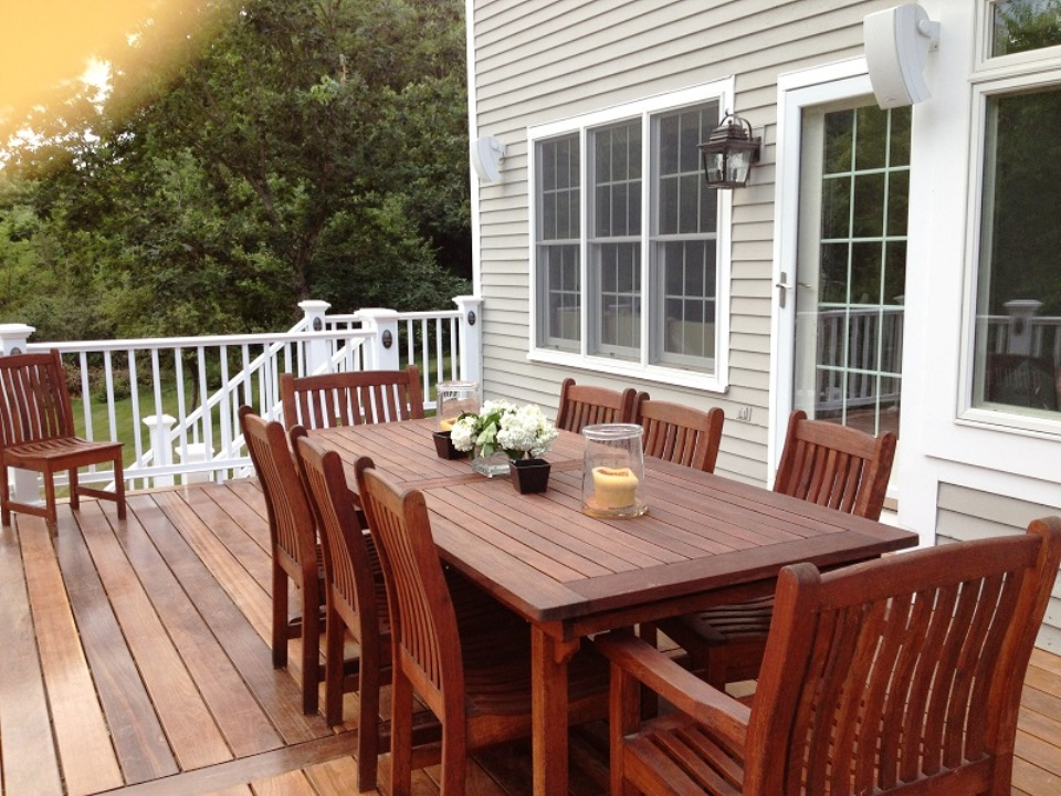 Outdoor Living Space with Lighting -- Wall Mount Deck Rail Lighting and Table Top & types of outdoor lighting | St. Louis decks screened porches ...