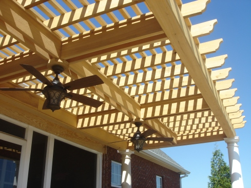 Pergola with Overhead Lighting and Fan by Archadeck